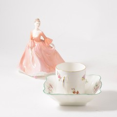 A tray of decorative ceramics to include:- Royal Doulton ladies