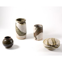 Collection of Kenilworth pottery Studio Vases. together with a covered bowl