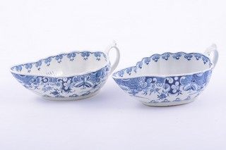 Near pair of First Period Worcester porcelain blue and white sauceboats