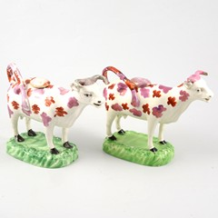 Two Welsh 19th Century cow creamers