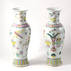 Pair of Chinese Famille Rose baluster shape vases