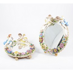 Pair of Dresden porcelain table mirrors