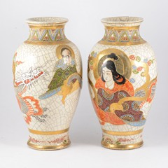 Two large Satsuma vases