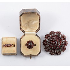 A collection of garnet jewellery of various ages