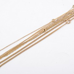 Five yellow metal neck chains